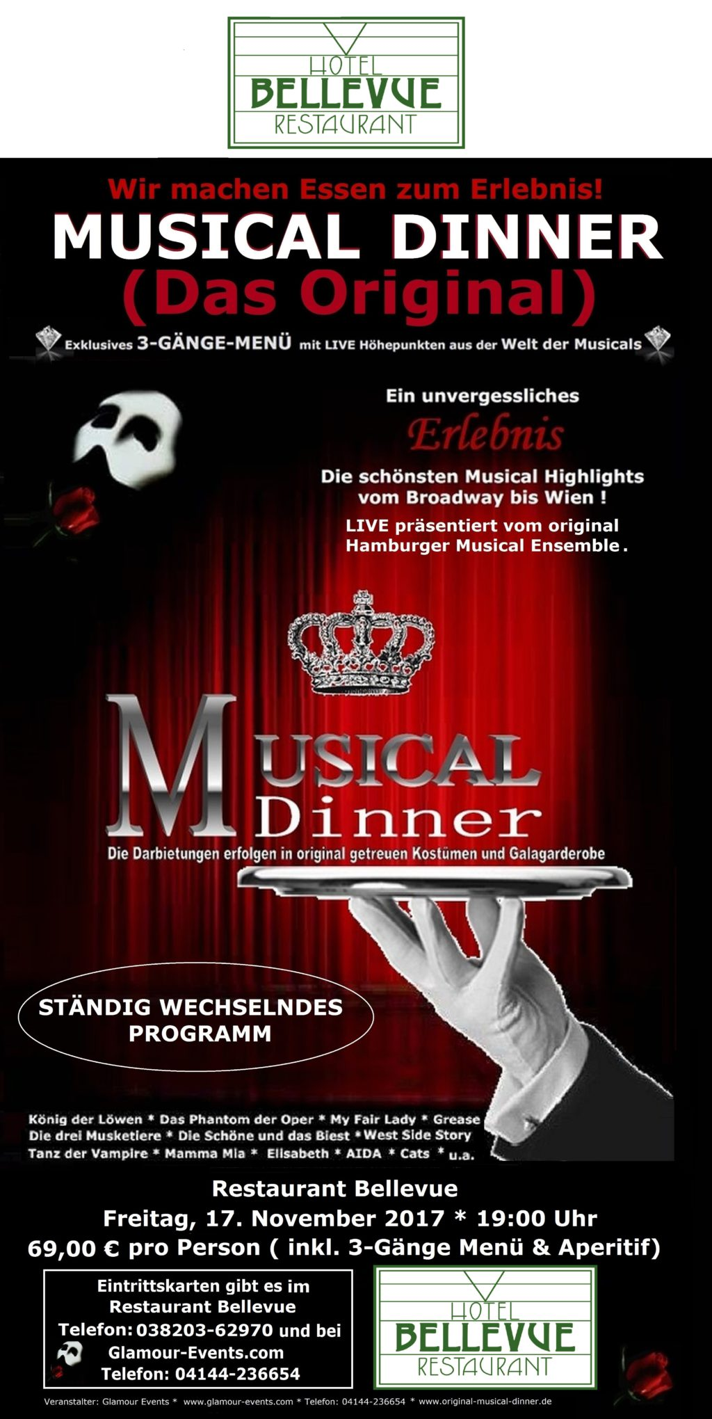 Musical Dinner Flyer Restaurant Bellevue